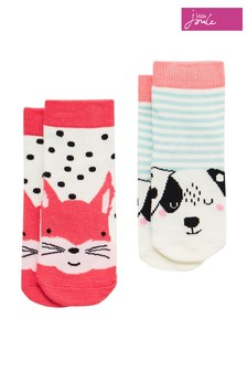Joules White/Cream Neat Feet Character Socks Two Pack