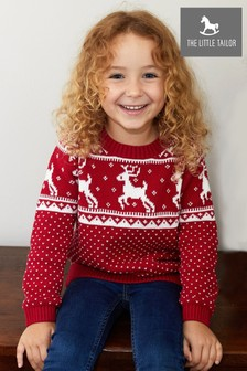 The Little Tailor Childrens Red Fairisle Pattern Family Christmas Jumper