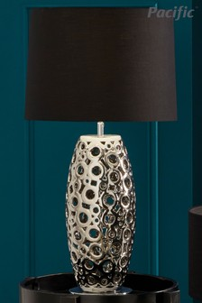 Phillipa Ceramic Silver Laser Cut Table Lamp Base by Pacific Lighting