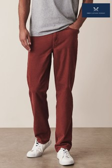 Crew Clothing Red Parker Straight Cord Trousers
