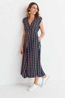 V-Neck Shoulder Pad Midi Dress