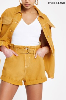 River Island Ochre Mom Belted Shorts