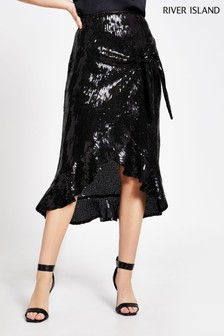 River Island Black Sequin Dee Dee Midi Skirt