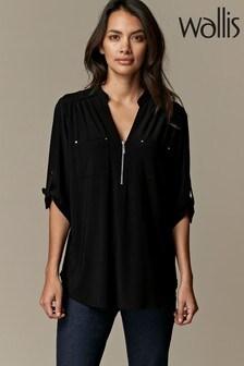 Wallis Petite Black Jersey Shirt
