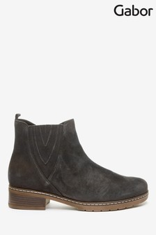 Gabor Grey Dorothy Foot Fit Velour Ankle Boots