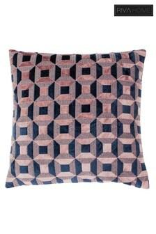 Riva Home Pink Empire Geo Velvet Jacquard Cushion