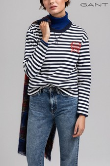 GANT Blue Crest Striped Long Sleeve T-Shirt