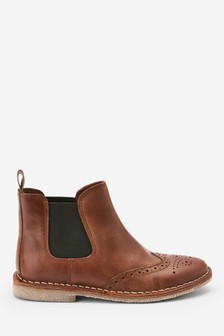 Leather Brogue Chelsea Boots (Older)