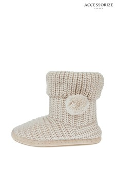 Accessorize Cream Chunky Knitted Slipper Boots
