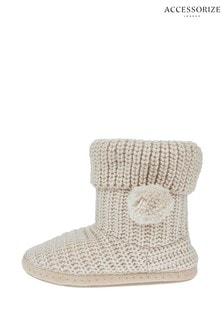 Krémové pletené čižmové papuče Accessorize