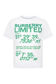Burberry Kids White Cotton T-Shirt