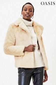 Oasis White Short Faux Fur Coat