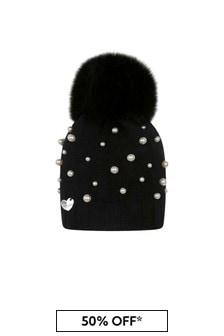 Girls Black Wool & Pearl Pom Pom Hat