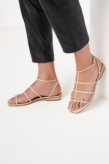 Signature Leather Caged Sandals
