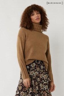 Warehouse Gemütlicher langer Pullover mit Seitenschlitz, kamelbraun