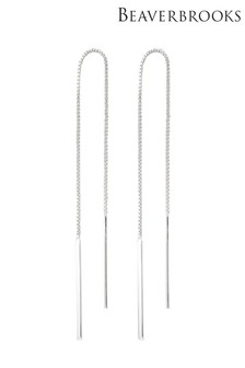 Beaverbrooks Silver Bar Double Drop Earrings