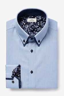 Double Collar Contrast Trim Shirt