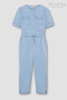 Mintie by Mint Velvet Blue Puff Sleeve Jumpsuit
