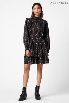 AllSaints Black Floral Print Aislyn Mini Dress