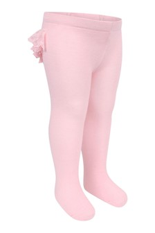 Baby Girls Pink Cotton Lace Ruffle Tights