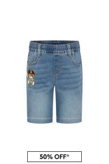 Moschino Kids Boys Blue Cotton Shorts