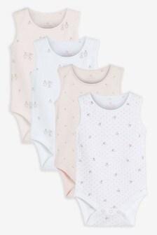 4 Pack GOTS Organic Bunny Vest Bodysuits (0mths-3yrs)
