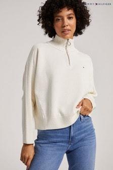 Tommy Hilfiger Natural High Neck Zip Sweater