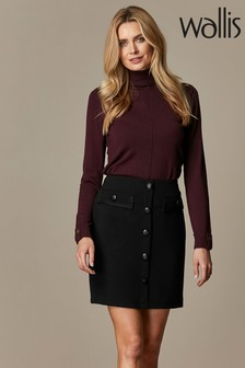 Wallis Black Military Button Skirt