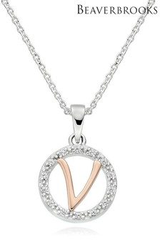 Sterling Silver and Rose Gold Plated Cubic Zirconia V Pendant