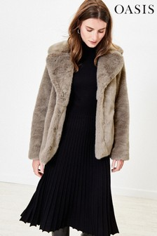 Oasis Grey Short Faux Fur Coat