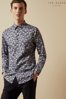 Ted Baker Purple Shecan Floral Cotton Blend Shirt
