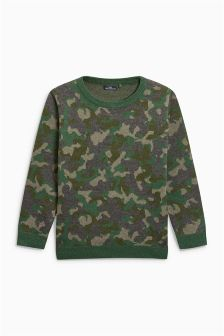 Camo Knitted Crew (3-16yrs)