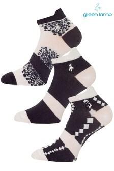 Green Lamb Blue Patterened Socks Three Pack