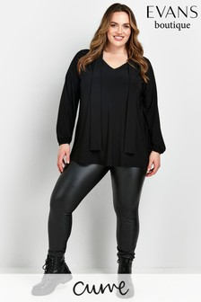 Evans Curve Black Pussbow Blouse