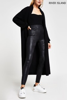 River Island Black Croc Coated Leggings