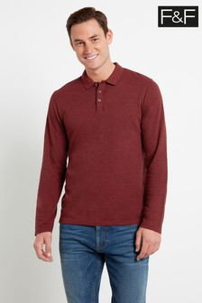 F&F Multi Red Long Sleeve Textured Polo