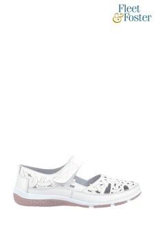 Fleet & Foster White Jasmine Touch Fastening Shoes