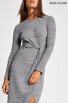 River Island Grey Twist Midi Dress