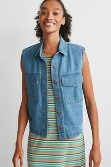 Pocket Detail Sleeveless Shirt