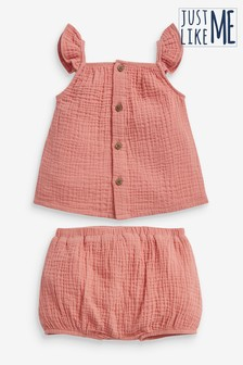Kids Matching Family Crinkle Top And Shorts Set (0mths-2yrs)
