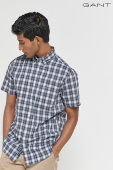 GANT Blue Tech Prep Check Short Sleeve Shirt