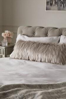 Grey Arctic Cosy Faux Fur Lumbar Cushion