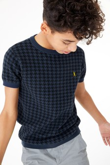 Knitted Dogtooth Pattern T-Shirt (3-16yrs)