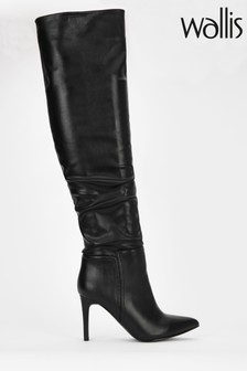 Wallis Black Pinot Rouche Over The Knee Boots