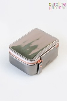 Caroline Gardner Gunmetal Patent Square Jewellery Box