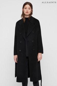 AllSaints Black Longline Maddison Wool Overcoat