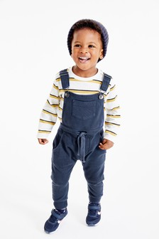 with Embroidered Train Baby Boys Long Sleeve T-Shirt and Blue Check Dungarees