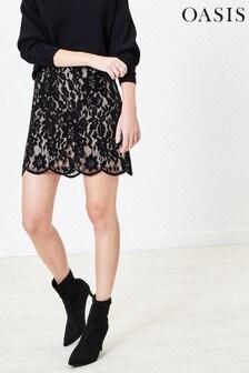 Oasis Black Lace Mini Skirt