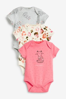 3 Pack Leopard Short Sleeve Bodysuits (0mths-3yrs)