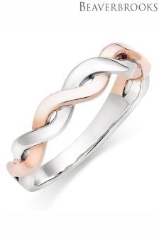 Beaverbrooks Silver Rose Gold Plated Twist Ladies Ring